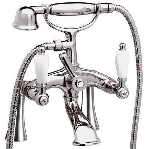2-handle bathtub mixer on studs chrome with white handles and shower set,<br> AN: RT4102UKCR