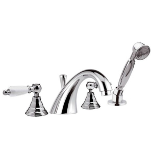4-holes deck mounted bathtub mixer chrome with white handles,<br> AN: RT4192CR