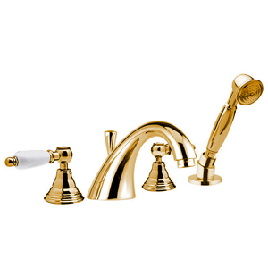 4-holes deck mounted bathtub mixer gold with white handles,<br> AN: RT4192DO