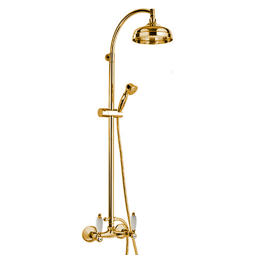 2-handle shower mixer with combi-shower column gold with white handles,<br> AN: RT443689DO