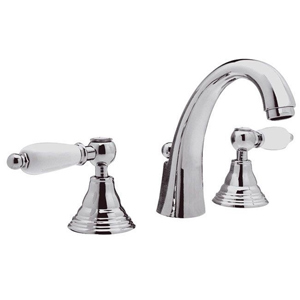 3-holes washbasin mixer chrome with white handles and pop-up waste,<br> AN: RT5003LCR