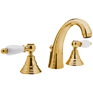 3-holes washbasin mixer gold with white handles and pop-up waste,<br> AN: RT5003LDO