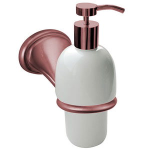 Nostalgic wall mounted ceramic liquid soap dispenser with holder copper brush-finished<br>AN: REDI95464