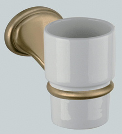Nostalgic wall mounted ceramic toothbrush tumbler with holder bronze brush-finished<br>AN: REPB94063