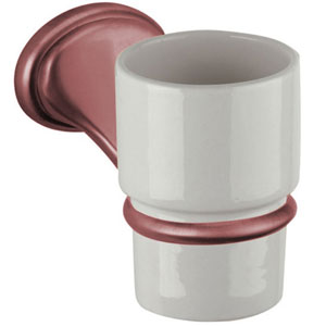 Nostalgic wall mounted ceramic toothbrush tumbler with holder copper brush-finished<br>AN: REPB94064