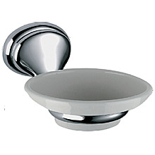 Nostalgic wall mounted ceramic soap dish with holder chrome<br>AN: REPS950CR
