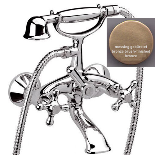 2-handle bathtub mixer bronze brush-finished with shower set,<br>AN:  V410263
