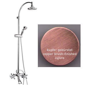2-handle bathtub mixer with combi-shower column copper brushed-finished,<br>AN:  V41368964