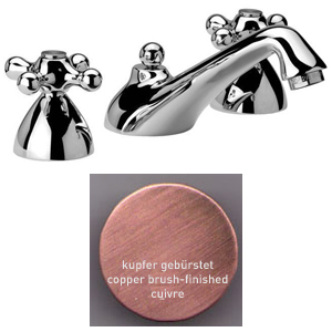 3-holes washbasin mixer copper brushed-finished with pop-up waste,<br>AN: V500364