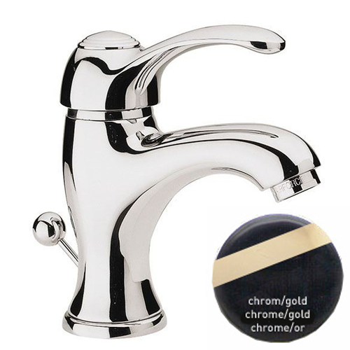 Single lever washbasin mixer chrome/gold with pop-up waste,<br>AN: V605CRDO