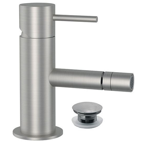 Single lever bidet mixer entirely produced in stainless steel with click-clack waste<br>AN: SSTX604CC