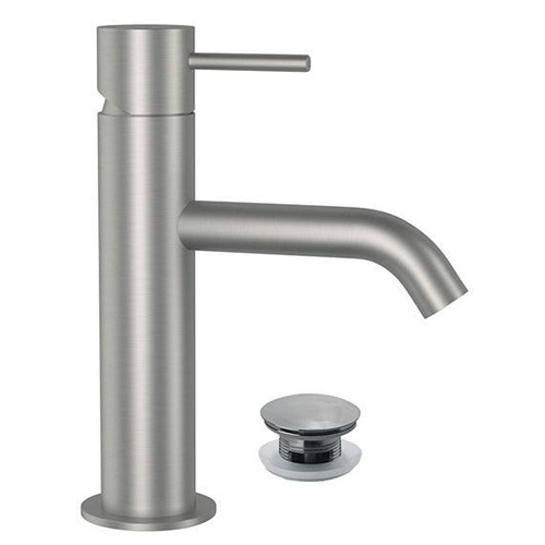 Single lever washbasin mixer entirely produced in stainless steel with click-clack waste<br>AN: SSTX605CC