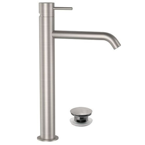 High single lever washbasin mixer entirely produced in stainless steel with click-clack waste<br>AN: SSTX607CC