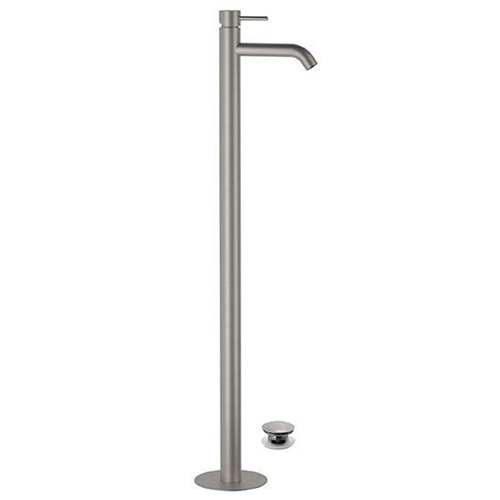 Floor mounting single lever washbasin mixer entirely produced in stainless steel with click-clack waste<br>AN: SSTX688