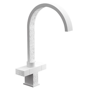 High 2-handle washbasin or sink mixer white with relief ornament decoration,<br>AN: W7100YG14