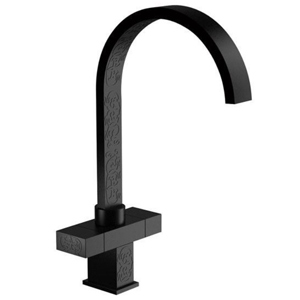 High 2-handle washbasin or sink mixer black with relief ornament decoration,<br>AN: W7100YG15