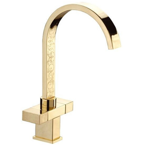 High 2-handle washbasin or sink mixer shiny gold with ornament decoration,<br>AN: W7100YG82