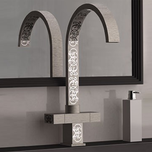 High 2-handle washbasin or sink mixer brushed nickel with ornament decoration,<br>AN: W7100YG84