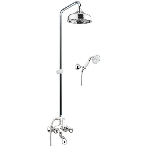 2-handle bathtub mixer with combination column chrome and original Swarovski Crystal handles,<br>AN: 13CR0615