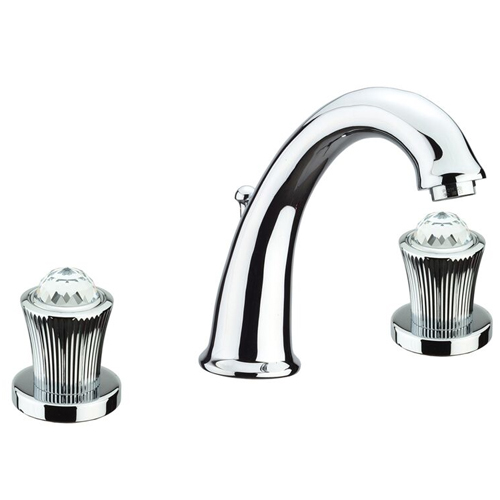 3-holes washbasin mixer chrome with original Swarovski Crystal handle and pop-up waste,<br>AN: 13CR0628