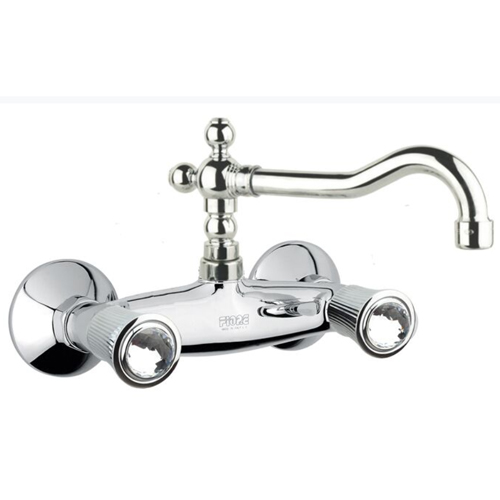 Wall mounted 2-handle mixer chrome with original Swarovski Crystal handles,<br>AN: 13CR0643