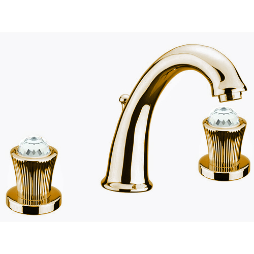 3-holes washbasin mixer gold with original Swarovski Crystal handle and pop-up waste,<br>AN: 13OO0628
