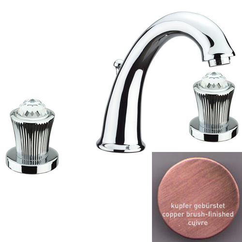 3-holes washbasin mixer copper brush-finished with original Swarovski Crystal handle and pop-up waste,<br>AN: 13RR0628