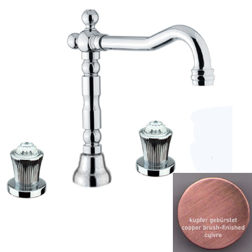 3-holes washbasin mixer copper brush-finished with original Swarovski Crystal handle and pop-up waste,<br>AN: 13RR0637
