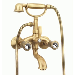 2-handle bathtub mixer with original Swarovski Crystal handle and shower set bronze brush-finished,<br>AN: 13ZZ0610