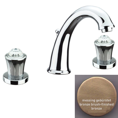 3-holes washbasin mixer bronze brush-finished with original Swarovski Crystal handle and pop-up waste,<br>AN: 13ZZ0628