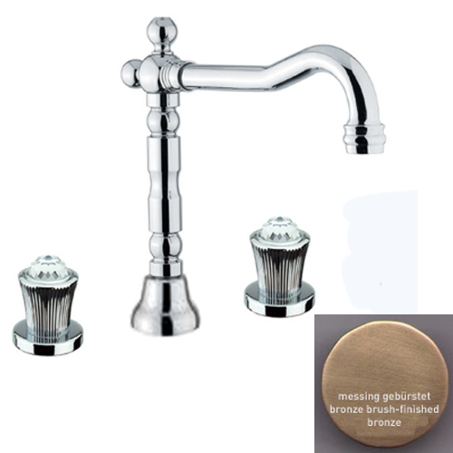 3-holes washbasin mixer bronze brush-finished with original Swarovski Crystal handle and pop-up waste,<br>AN: 13ZZ0637