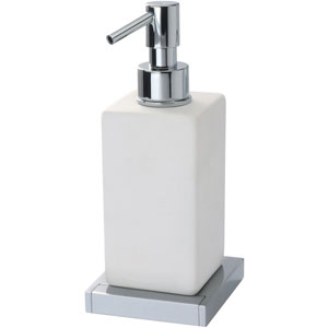 Square ceramic liquid soap dispenser with holder chrome,<br>AN: 19CRC211