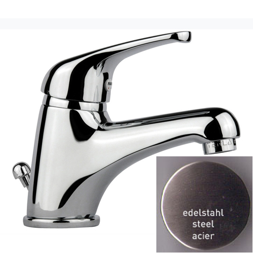 Single lever washbasin mixer steel with pop-up waste,<br>AN: 39AA2210