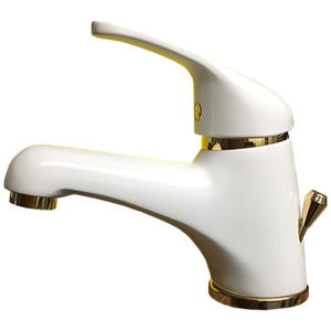 Single lever washbasin mixer white / gold with pop-up waste,<br>AN: 39BO2210
