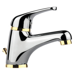 Single lever washbasin mixer chrome / gold with pop-up waste,<br>AN: 39CO2210