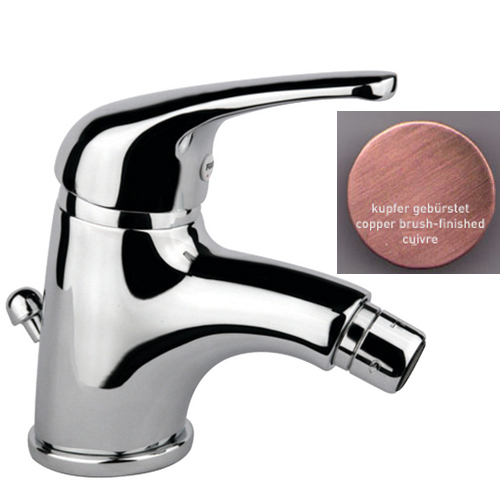 Single lever bidet mixer copper brush-finished with pop-up waste,<br>AN: 39RR3210
