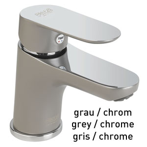 Single lever washbasin mixer grey / chrome with pop-up waste, <br>AN: 81GX8120