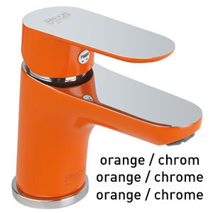 Single lever washbasin mixer orange / chrome with pop-up waste, <br>AN: 81OX8120