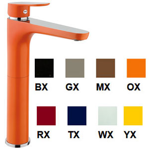 Single lever washbasin mixer extra high in many colors with pop-up waste, <br>AN: 81_X8120