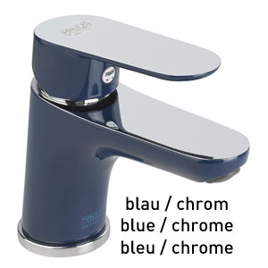 Single lever washbasin mixer blue / chrome with pop-up waste, <br>AN: 81TX8120