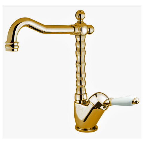 Single lever washbasin mixer extra high gold 24 Karat with pop-up waste,<br> AN: 83OO2245