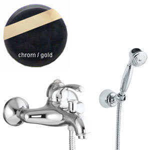 Single lever bathtub mixer chrome/gold with Swarovski Crystal and shower set,<br> AN: 84CO5103
