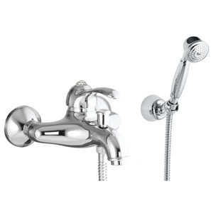 Single lever bathtub mixer chrome with Swarovski Crystal and shower set,<br> AN: 84CR5103