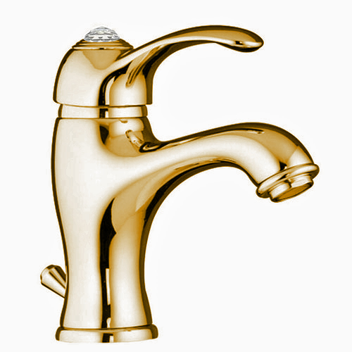 Single lever washbasin mixer gold 24 Karat with Swarovski Crystal and pop-up waste,<br> AN: 84OO5221
