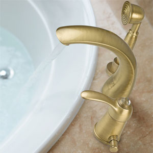 3-holes deck mounted bath mixer with Swarovski Crystal and spout bronze brushed-finished,<br>AN: 84ZZ5105