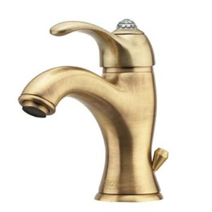 Single lever washbasin mixer bronze brushed-finished with Swarovski Crystal and pop-up waste,<br> AN: 84ZZ5221