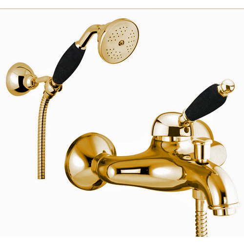 Single lever bathtub mixer gold 24 Karat with shower set,<br> AN: 89OO5104