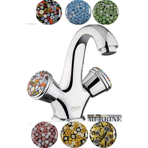 2-handle washbasin mixer chrome handle made with Murano glass (by choice) and pop-up waste,<br>AN: 184XR0623