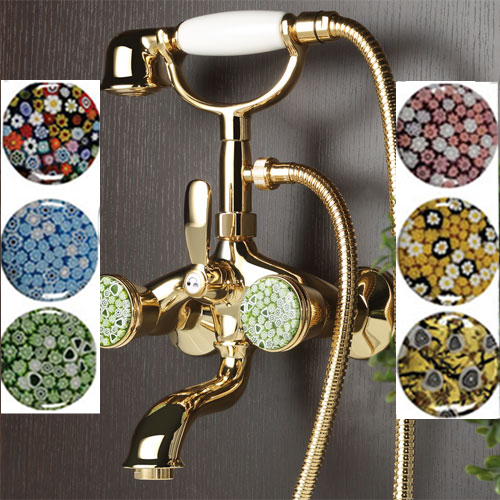 2-handle bathtub mixer gold 24 Karat handle made with Murano glass (by choice),<br>AN: 18XOO0600