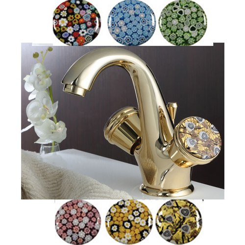 2-handle washbasin mixer gold 24 Karat handle made with Murano glass (by choice) and pop-up waste,<br>AN: 18XOO0623